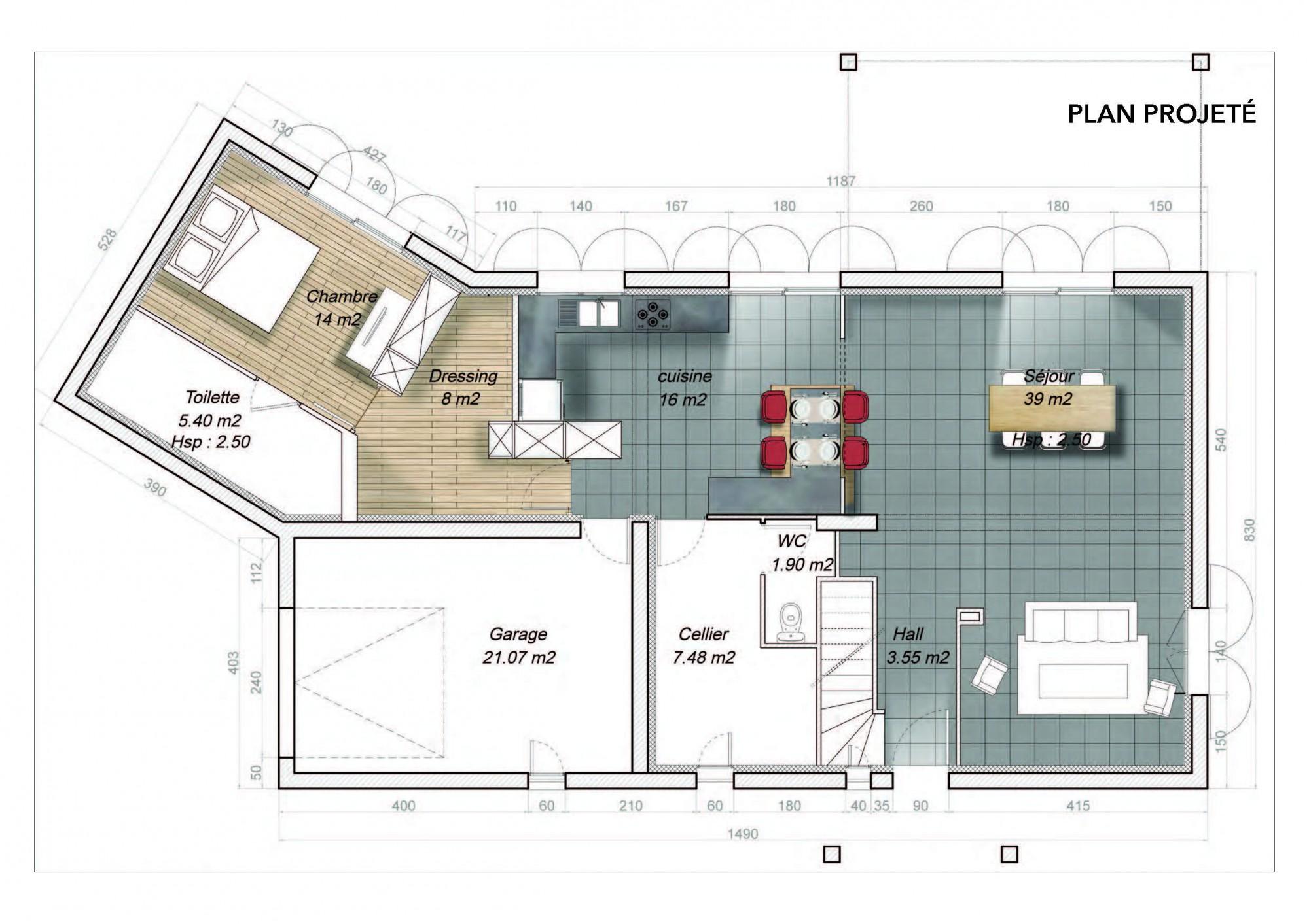 Am nagement d 39 une cuisine ouverte donz re realisations for Plan maison cuisine ouverte